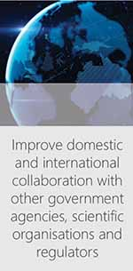 Improve domestic and international collaboration with other government agencies, scientific organisations and regulators